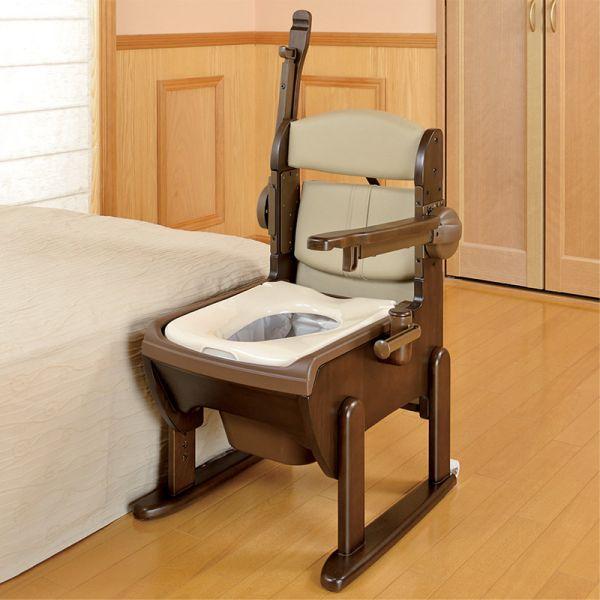 木製きらく片付け簡単トイレ 肘掛跳ね上げ 普通便座
